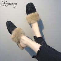 пушистые каблуки оптовых-Rimocy furry slippers mules shoes 2018 women  womens shoe house shoes woman flat heels comfortable designer slides femme