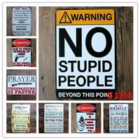 plaques de cuisine achat en gros de-Attention No Stupid People Toilette Cuisine Salle de bain Règles de famille Bar Pub Café Restaurant à la maison Decoratio Vintage Tin Signs Retro Metal tinSign