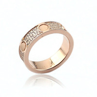 Wholesale rings fine jewelry - Fashion jewerly 316L Titanium Steel 18K gold plated Gold screw love Ring For Women wedding Rings Rose Gold Fine jewelry