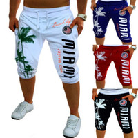 calções de bermuda para homem negro venda por atacado-Calções de Verão Dos Homens Calças Justas Compressão Palm Print Design Bermuda Curto Homens Homme Shorts Preto Cinza M-XXL