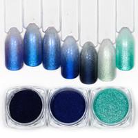 ingrosso smalto azzurro lucido-1pot Mermaid Nail Glitter Polvere Polvere Lucida Nail Art Design Shimmer Blu Immersione Pigmento Manicure Gel UV Decorazioni Polacco Nuovo