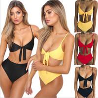 Wholesale womens swimwear bikinis online - 2018 Sexy Womens Ladies Bikini Set Swimsuit High Waist Ladies Bathing Suit Swimwear Beachwear Colors Size