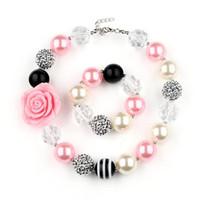 ingrosso braccialetto di resina del fiore di rosa-Set gioielli bracciale collana pendente del bicchierino della nuova neonata resina Chunky Perle Collana Bracciale Rosa del fiore del bambino del partito