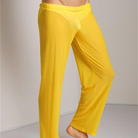 Wholesale transparent erotic men - Men Transparent Loose Mesh Lounge Pants Loose-fitting Pajamas Pants Pyjama Trouser Sleep Pant Erotic Lingerie home clothing FX1016