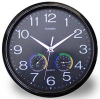 medidor de pared al por mayor-Originalidad reloj de pared de alta calidad de plástico sala de estar mudo relojes de cuarzo con temperatura y humedad metro arte decoración 18ws jj