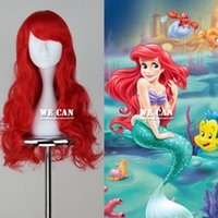 uzun kırmızı anime peruk toptan satış-Ücretsiz shippingLong Dalgalı Kırmızı Renk Cosplay Anime Peruk peruk