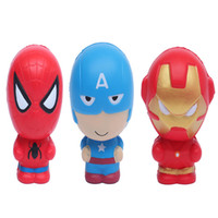 Wholesale spiderman charms - Squishy Cartoon Avengers Marvel Heros Toys Squeeze Slow Rising Iron Man Spiderman Captain America Squishy Toy For Kids