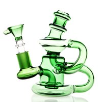 Wholesale Nail Designs Accessories - New Design Glass Water Pipe Recycler Art Mini Bong Accessories 14mm Piece Smoking Pipes With 14.5mm Parts Oil Rigs Nail Bongs Perc Dab Green