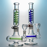 Wholesale freezable coils resale online - Freezable Straight Tube Bong Dab Rigs Water Pipes Inline Percolator Build A Condenser Coil Bong mm Joint Glass Waterpipe ILL06