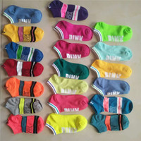 Wholesale football candy - Good Quality New Pink Style Adult Socks Boys & Girl's Short Sock Cheerleader Sports Running Socks Teenager Ankle Socks Candy Colorful