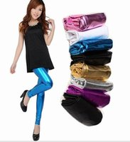 Wholesale women one leg - Sexy Slim Pencil Pants Bright High Waist Candy color Solid Legging Solid Leggings Faux Leather Leggings Sexy Stretch Tights Pants KKA3995