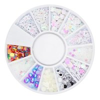 Wholesale nail art pearl stickers resale online - 1pc Creative Hollow D Resin Pearls Nail Art Charm Wheel Mixed Pattern DIY Manicure Sequin Sticker Decal Decor