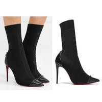 Frauen Designer Stiefel Rote Untere High Heels Nieten Studded Schuhe Sexy  spitzen Spikes Stiefel Frauen Winter High Heels Stiefeletten W1 ace23a868f