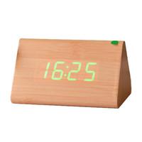 светодиодные цифровые часы зеленый оптовых-Botique e Wood Voice Control Alarm Digital LED Alarm Clock  Yellow + Green