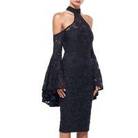 knielänge sexy flared kleider großhandel-Fashion Black Lace Mantel Abendkleider 2018 Halter High Neck Flare Bell mit langen Ärmeln Mantel knielangen Partykleid