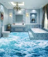 papéis de parede 3d bonitos venda por atacado-Personalizado piso 3d papel de parede Bela onda do mar 3D piso pintura papel de parede mural Para Decoração Da Parede auto-adesivo