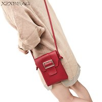Wholesale small flip cell phones resale online - XZXBBAG Women Fashion Hasp Shoulder Bags Female PU Mobile Phone Messenger Small Bag Girls Crossbody Bag Pin Buckle Flip Packet