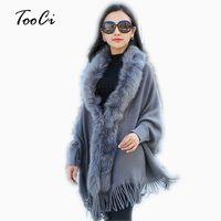 Fashion New Autumn And Winter Women Faux Fur Collar Cape Shawl Cardigan Women Tassel Knit Cardigan Sweater Poncho D1892001