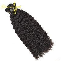 естественное скручивание 16 дюймов оптовых-1 или 3 пучка бразильских волос Джерри Керл 100 г / пучок 9а Реми Джерри вьющиеся волосы ткет натуральный черный 8 дюймов