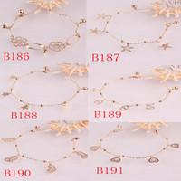 braceletes de pulseira de 14k venda por atacado-O ouro 14K encheu o presente Chain da jóia da pulseira do bracelete da corrente em 6 estilos