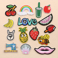 Wholesale angels jackets - Angel Girl Pineapple Strawberry Elephant Apple Embroidery Patches Sew Iron On Fabric Applique Patch Badge DIY Apparel Jeans Jacket Bag