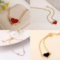 Wholesale Color Metal Bangle - SL01 Fashion Red Love Heart Metal Bracelets For Women Gold Color Bracelets & Bangles Best Gift Party Wedding Jewelry Wholesale