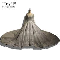 silber bildfoto großhandel-Echt Bilder Luxus Bling Silber Glitter Dubai Brautkleider Dubai 2018 Real Photo Ballkleid Mit Langen Ärmeln Brautkleid Vestido De Noiva