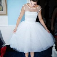 Wholesale knee length wedding dresses resale online - 1950s Short Wedding Dresses Sleeveless Scoop Neck Tulle Tea Length A Line Cute Design Bridal Gowns Custom Size