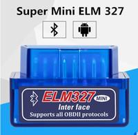 Wholesale Gms Wholesale - Super Mini ELM327 Bluetooth OBD2 V2.1 Support Smartphone And PC Mini ELM 327 BT OBD II Scanner