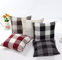große gegenstände großhandel-Kissenbezug Leinen großes kariertes Sofa Kissen Kissenbezug Heimtextilien Wählen Sie eine Vielzahl von Farbe Haushaltsgegenstände