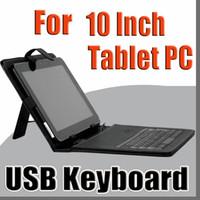 10 inch tablet al por mayor-Estuche de cuero negro OEM con teclado micro USB para tableta MID de 10 pulgadas C-JP