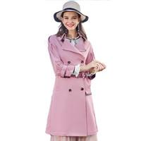mujer rosa zanja al por mayor-Pink Print Long Trench Coat Mujeres Otoño Abrigo Estilo Británico Casaco Retro Bayan Kaban Abrigos Moda Para Mujeres Cloak 18A50081