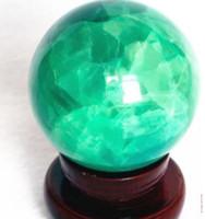 fluorit-kristallkugel großhandel-Natürlicher Fluorit Kristallkugeldekoration leuchtende Steinkugelkugelperlenstein mit Fluoreszenz