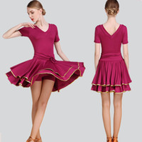 Wholesale Tango Ballroom Dance Dress - Hot Sale Adult Latin Dance Dress Salsa Tango Chacha Ballroom Competition practice Dance Dress Sexy V Collar Short Sleeve Dress 3Color S-2XL