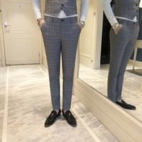 städtischen stil hose großhandel-Klassischer Mens Striped Suit Hosen Urban Style Slim Elegante männliche Business Casual Hosen