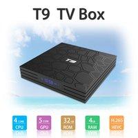 ingrosso giocatore di usb di android tv-HOT T9 TV BOX 4 GB 32 GB RK3328 4K Quad Core Android 8.1 TV BOX WIFI USB 3.0 Media Player