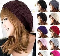Wholesale red knit beret - Lady Winter Warm Knitted Hats Caps Crochet Slouch Baggy Beret Beanie Hat Cap Fashion Knitted Headwears 20 pcs