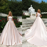 Wholesale stain sash for sale - New Elegant Stain vestidos de fiesta A Line Wedding Dresses with Crystal Waist Design Custom Made Court Train Bateau Bridal Gowns
