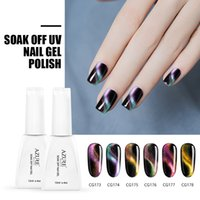 Wholesale gel polish nail art designs - Azure Beauty 6Pcs Newest Chameleon Magnetic Nail Gel Polish 12ML For Nail Art Design Double Color 3D Cat Eye Effect Shiny Color Nail Gel