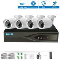güvenlik hdd toptan satış-H.265 4CH 48 V POE NVR Kiti CCTV Sistemi 4.0MP IP Kamera P2P IR IP66 Açık Hava Video Güvenlik Gözetleme Sistemi yerleşik 1 TB HDD