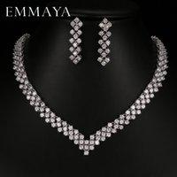 conjuntos de collar de boda de diamantes de imitación al por mayor-Emmaya Nueva Zircon Crystal Rhinestone Stone Earrings Necklace Jewelry Set Wedding Party New Women Envío gratis
