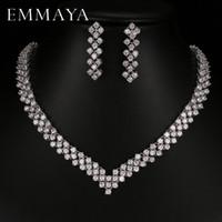 conjuntos de collar de boda de diamantes de imitación al por mayor-Emmaya Nuevo Zircon Crystal Rhinestone Stone Earrings Necklace Jewelry Set Wedding Party Nuevas Mujeres Envío Gratis