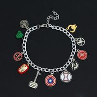 Wholesale Bracelets For America - dongshengSuperhero Marvel Avengers Enamel Logo Captain America Iron Man Deadpool Shield Wonder Women Charm Bracelet for Women-40