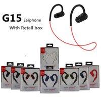 gancho de micrófono al por mayor-G15 bluetooth auriculares inalámbricos deportes auriculares con auriculares de gancho de oreja con micrófono para iphone samsung con caja al por menor