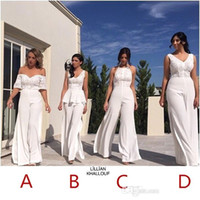 Wholesale lavender chiffon wedding dress resale online - V Neck Lace JumpSuit Long Bridesmaid Dresses Off The Shoulder Split Floor Length Long Maid of honor Wedding Guest Evening Gowns BA6721