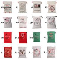 Wholesale green santa - 2018 Christmas Gift Bags Decorations Creative Santa Bag Claus Deer 16 Styles Drawstring Canvas Santa Sacks Bags Extra Large Size