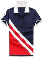 polo blau navy großhandel-Einzelhandel Männer Striped Polo-Shirt mit großen Pferd Kurzarm Nummer 3 Männer Casual Polos T-Shirts Navy Blue Red