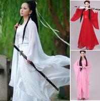 altes weißes kleid großhandel-Frauen konfu Cosplay feenhaftes Kostüm Hanfu Kleidung chinesisches traditionelles altes Kleidtanzbühnenstoff klassisches nv weißes Kostüm