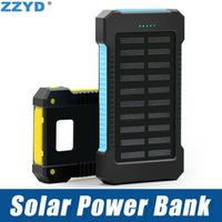 Wholesale Power Bank External Battery Waterproof - ZZYD Portable Universal 6000mAh Solar Power bank External Battery Pack Dual USB Waterproof Phone Charger For iP 7 8 Samsung S8 Note 8