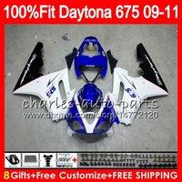 triunfo 675 carenagem branca azul venda por atacado-Injecção For Triumph Daytona 675 09 10 11 12 Carroçaria 107HM.6 Daytona-675 azul branco Daytona675 Daytona 675 2009 2010 2011 2012 Carenagem
